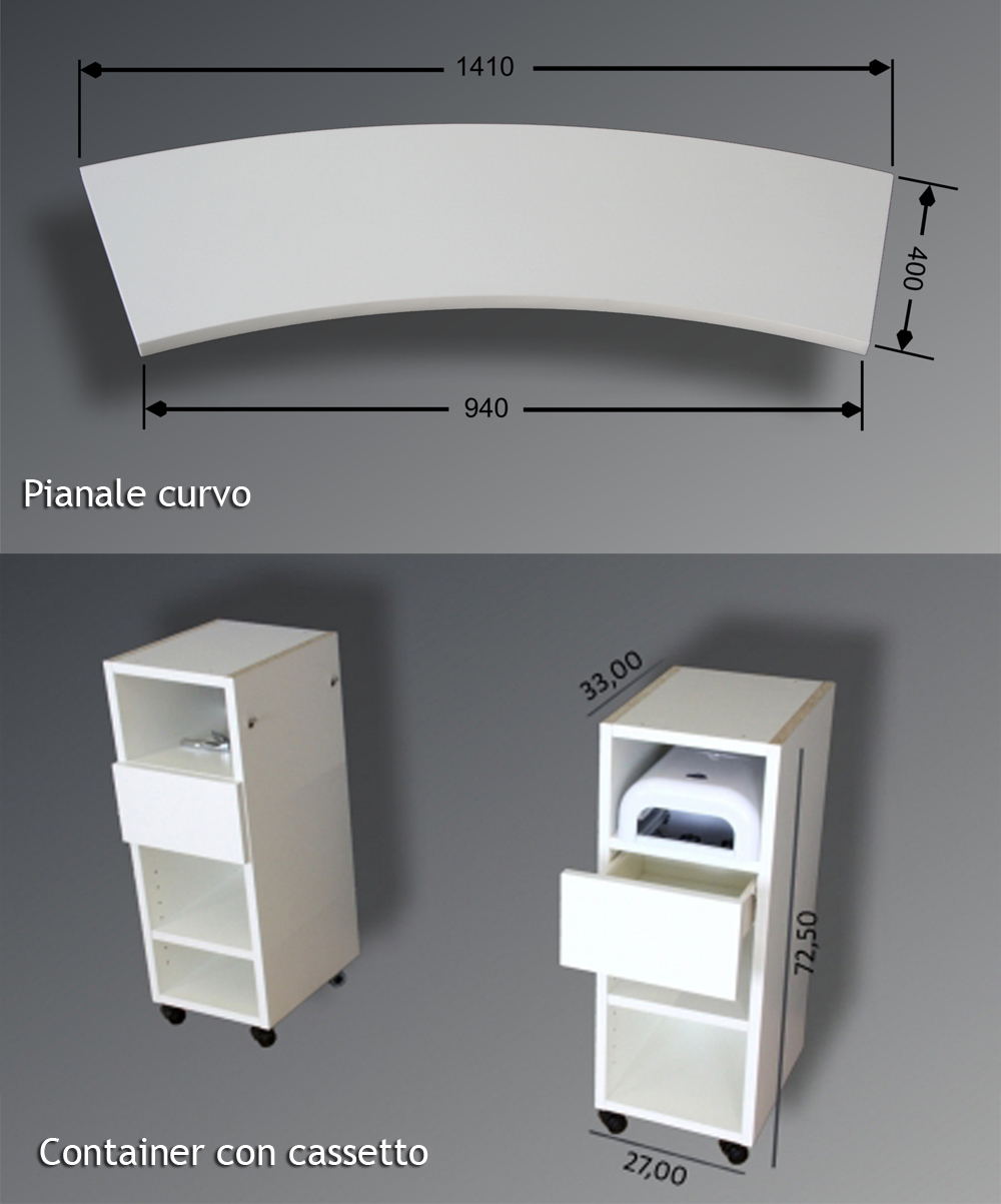 Tavolo con aspiratore integrato pianale curvo - Tavolo con aspiratore per manicure ricostruzione unghie ...